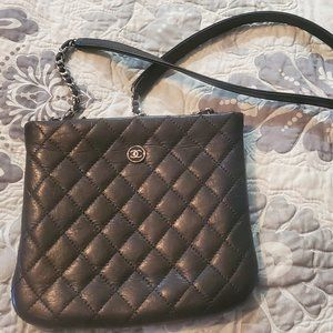 Employee Black Lambskin Leather Quilted Cross Body
